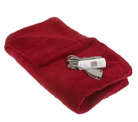 "Sunbeam LoftTec Plush 50""x60"" Heated Throw w/ 3 Heat Settings"