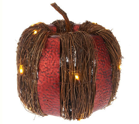 "Bethlehem Lights 14"" Battery Op. Metal & Rattan Harvest Pumpkin"