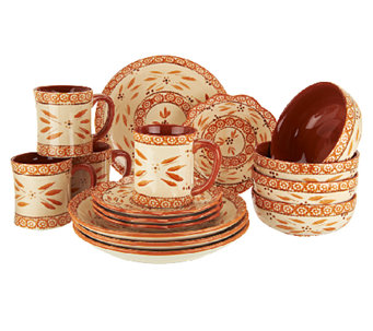 """As Is"" Temp-tations Hand-Painted 16-pc Dinnerware Set - H203777"
