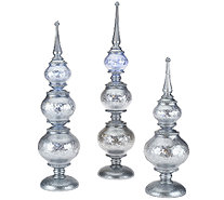Set of 3 Illuminated Frosted Finials by Valerie - H205277