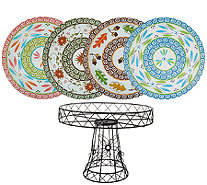 "Temp-tations Wire Cake Pedestal with (4) 11"" Glass Trivets - H207177"