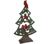 "Holiday 16"" Slim Winter Tree with Cardinals & Holly - H209077"
