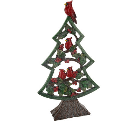 "Holiday 16"" Slim Winter Tree with Cardinals & Holly"