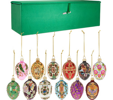 Joan Rivers 2016 Set/12 Mini Russian Inspired Egg Ornaments