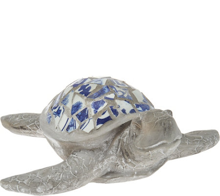 "Indoor/Outdoor Blue and White 17"" Mosaic Turtle"