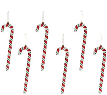 """As Is"" Set of 6 13"" Candy Cane Ornaments by Valerie - H211177"