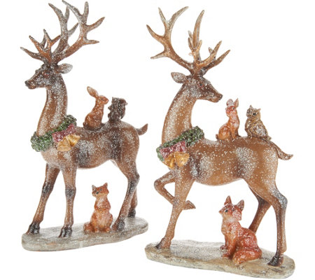 Set of 2 Glistening Deer with Woodland Animals by Valerie