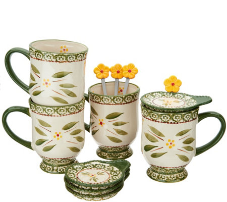 Temp-tations Old World Set of 4 Mugs with Lid-It & Spoon