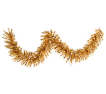 9' Gold Glitter Cashmere Pine Garland by Vickerman