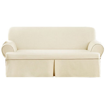 Sure Fit CVC Duck 1-Piece T-Cushion Sofa Slipcover - H280977
