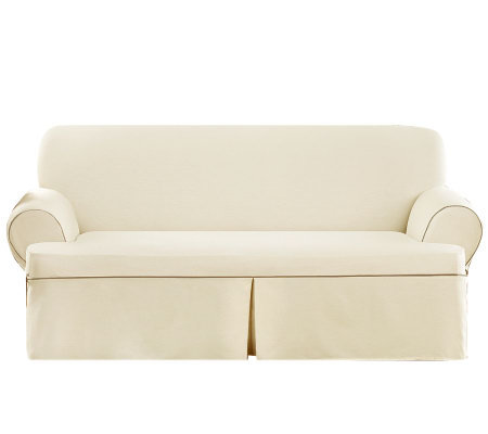 Sure Fit CVC Duck 1-Piece T-Cushion Sofa Slipcover
