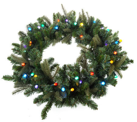 BethlehemLights BatteryOperated 26-inch Pre-Lit Wreath with Timer