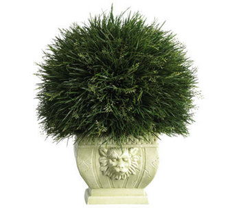 Potted Grass w/White Vase (Indoor/Outdoor) by Nearly Natural - H179278