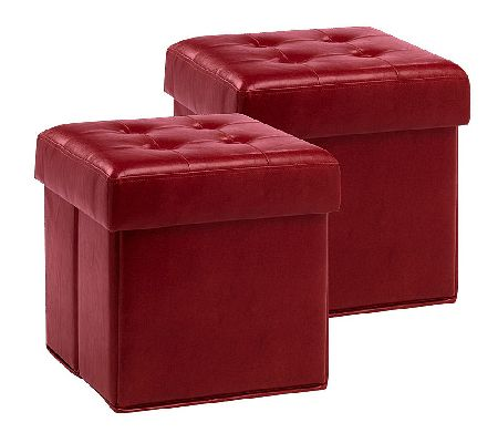 Set of 2 Faux Leather Foldup Storage Ottomans wTray by Valerie