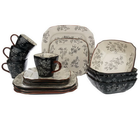 Perfect Temp Tations Floral Lace 16 Piece Square Dinnerware Set