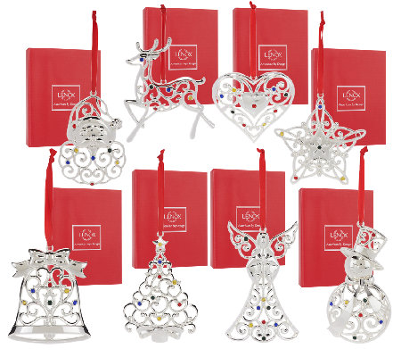 Lenox Set Of 8 Silver Plated Ornaments With Gift Boxes