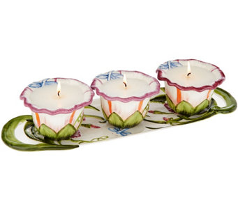 Temp-tations (3) 4 oz. Candles with Decorative Serving Tray - H205178