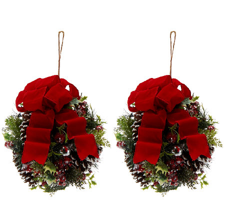 """As Is"" Set of 2 Iced Pine Kissing Balls by Valerie"