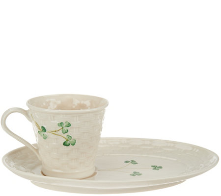 "Belleek ""Everyday"" Basketweave Mug and Tray Set"