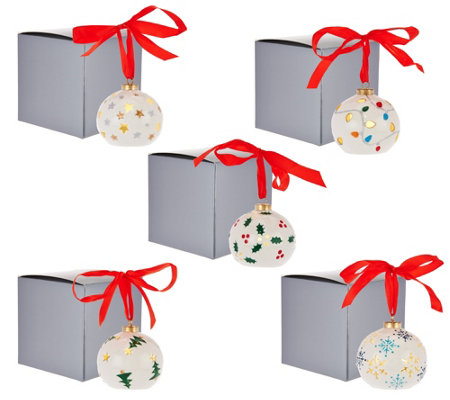 Lightscapes S/5 Porcelain Handpainted Lit Ornaments with Gift Boxes