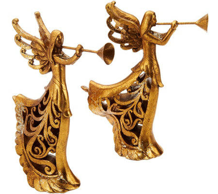 "Set of 2 9.5"" Trumpeting Angel Figurines with Scroll Design"