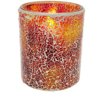 Luminara Mosaic Glass Candleholder with Flameless Candle - H209278