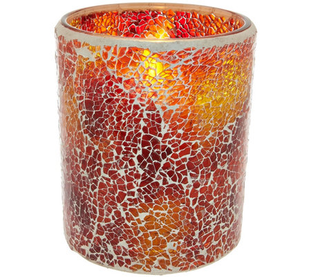 Luminara Mosaic Glass Candleholder with Flameless Candle