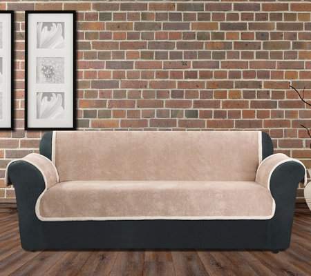 Sure Fit Vintage Leather Sofa Furniture Cover W/ Sherpa Back