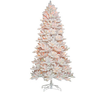 """As Is"" Bethlehem Lights 7.5' Hudson Flocked Christmas Tree - H210278"