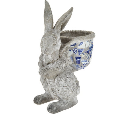 "Indoor/Outdoor Blue and White 12"" Mosaic Bunny"