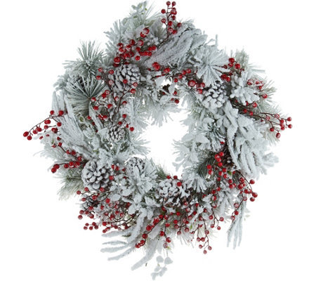 "28"" Oversized Snowy Berry Pinecone Wreath by Valerie"