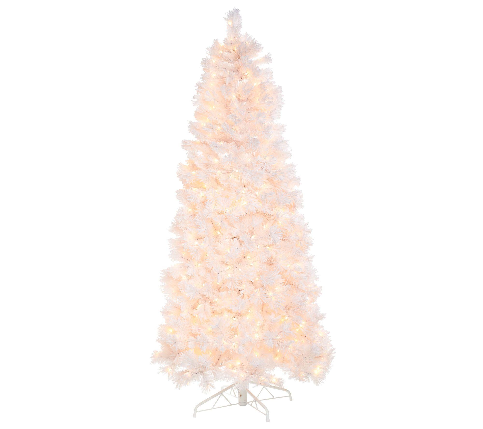 Bethlehem Lights Prelit 7.5' Slim Pine Snowy White Christmas Tree ...