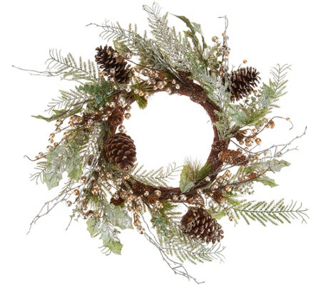 "Champagne Eucalyptus Berry 20"" Wreath by Valerie"