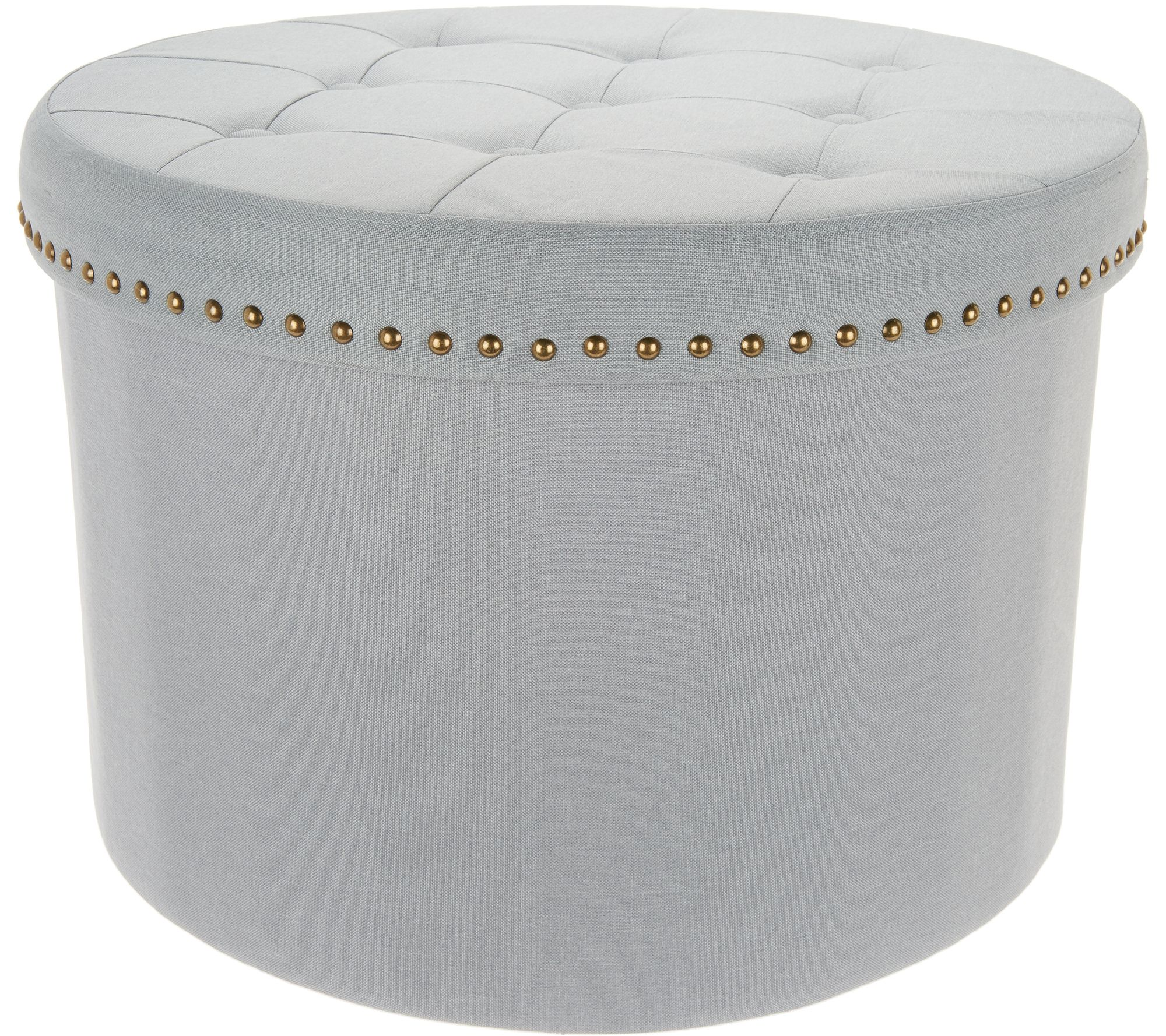 Inspire Me Home Decor 24Round Tufted Collapsible Storage Ottoman