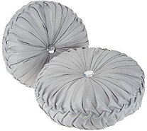 Casa Zeta-Jones Set of 2 Round Ruched Pillows - H213778