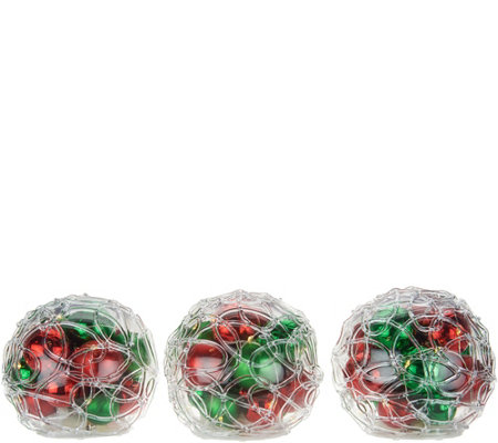 """As Is"" Set of 3 Lit Spun Sugar Ornament Spheres by Valerie"