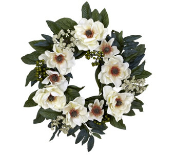 "22"" Magnolia Wreath by Nearly Natural - H289678"