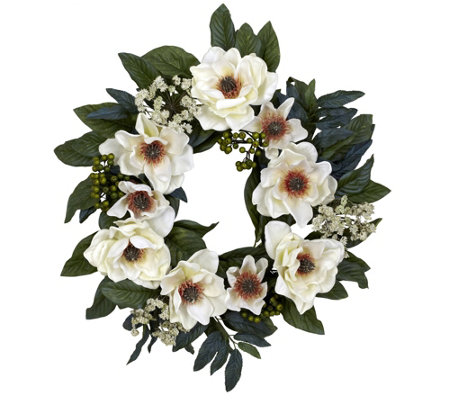 "22"" Magnolia Wreath by Nearly Natural"