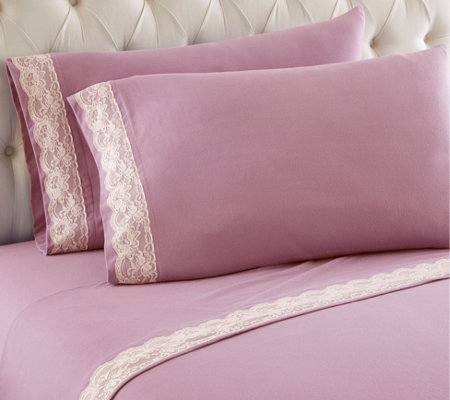 Shavel Micro Flannel Lace Edged King Sheet Set