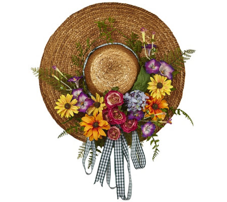 Mixed Flower Hat Wreath by Nearly Natural
