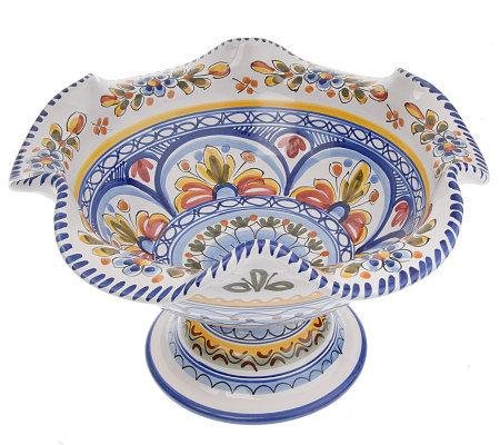 Spanish Handpainted Ceramic Scalloped Edge Blue Fruit Bowl  sc 1 st  QVC.com & Spanish Handpainted Ceramic Scalloped Edge Blue Fruit Bowl - Page ...