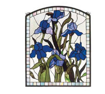 Tiffany Style Iris Window Panel - H123479