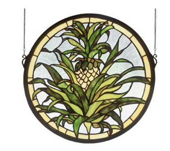 Tiffany Style Welcome Pineapple Window Panel - H123679