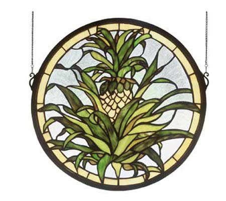 Tiffany Style Welcome Pineapple Window Panel