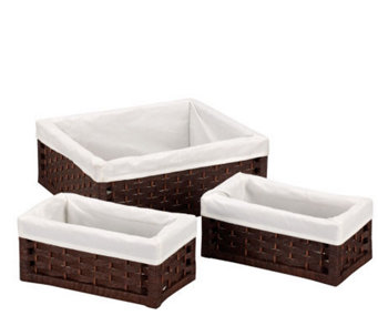 Household Essentials Paper Rope Utility Baskets- Set of 3 - H157279