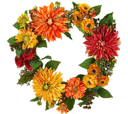 Dahlia 22-inch Wreath by Valerie