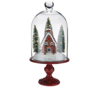 "Illuminated 13"" Holiday Scenes Under Glass w/Mirror Insert by Valerie - H205179"