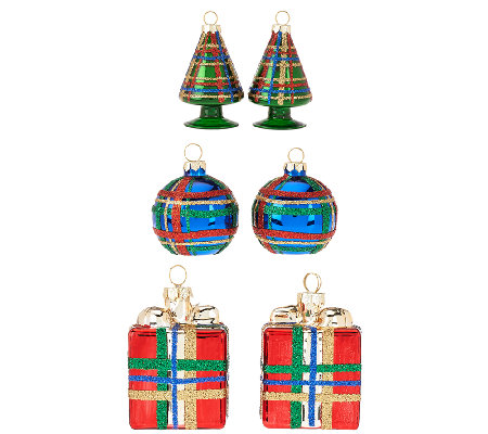 6-piece Plaid Ornaments by Valerie