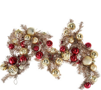4' Red & Gold Vintage Ornament Garland - H209579