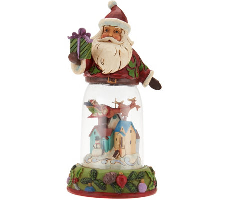 Jim Shore Heartwood Creek Santa Figurine with Glass Window Scene